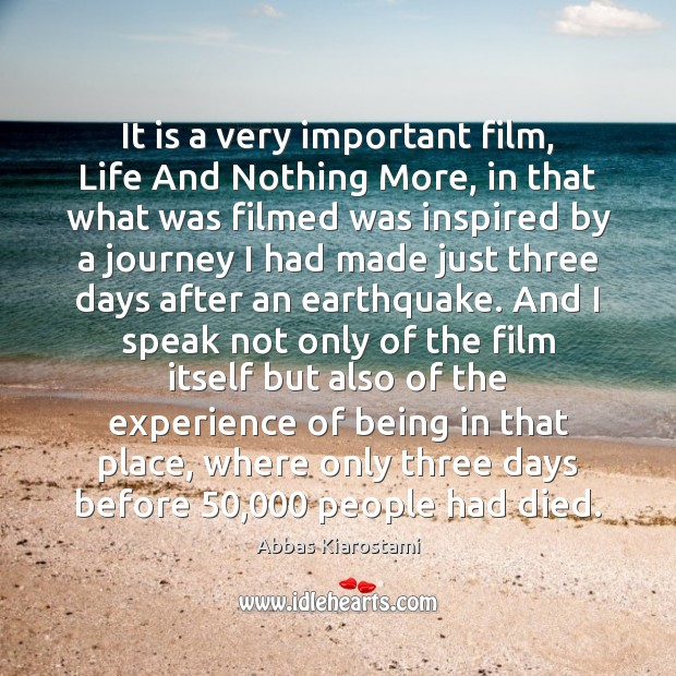 Image, It is a very important film, Life And Nothing More, in that