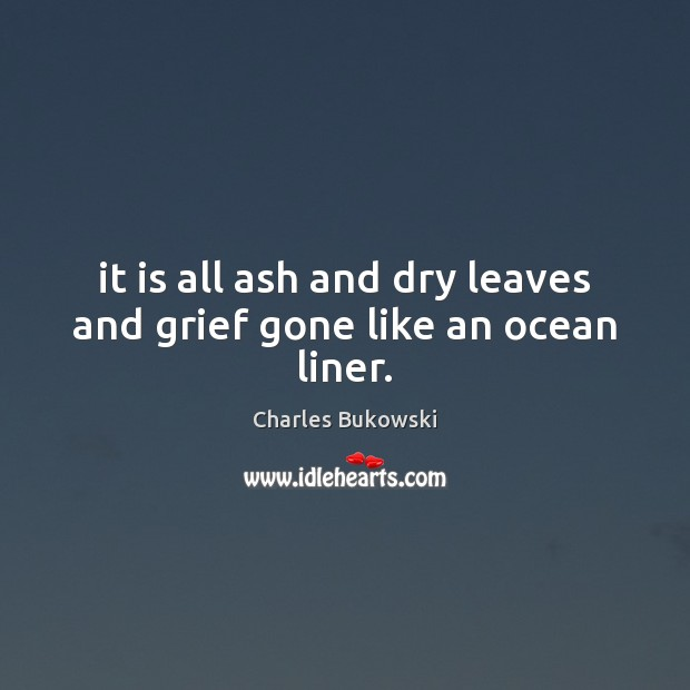 It is all ash and dry leaves and grief gone like an ocean liner. Image
