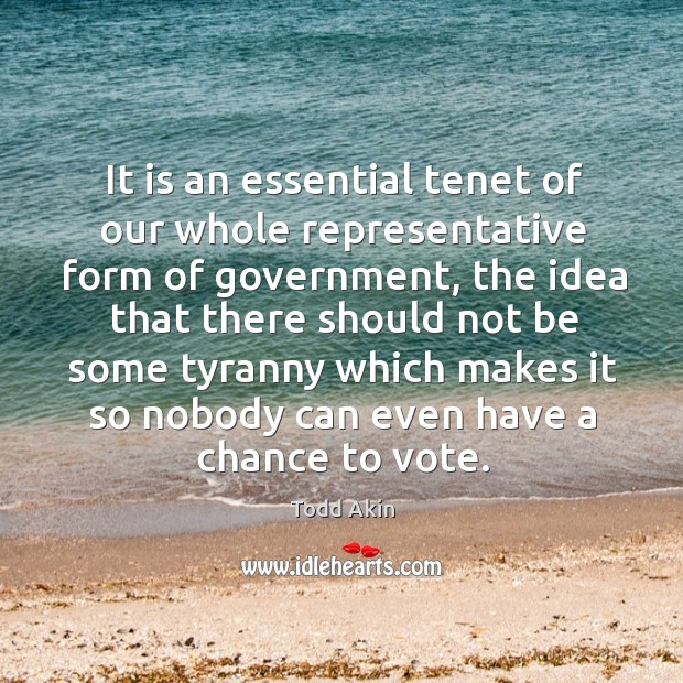 It is an essential tenet of our whole representative form of government, the idea that Todd Akin Picture Quote