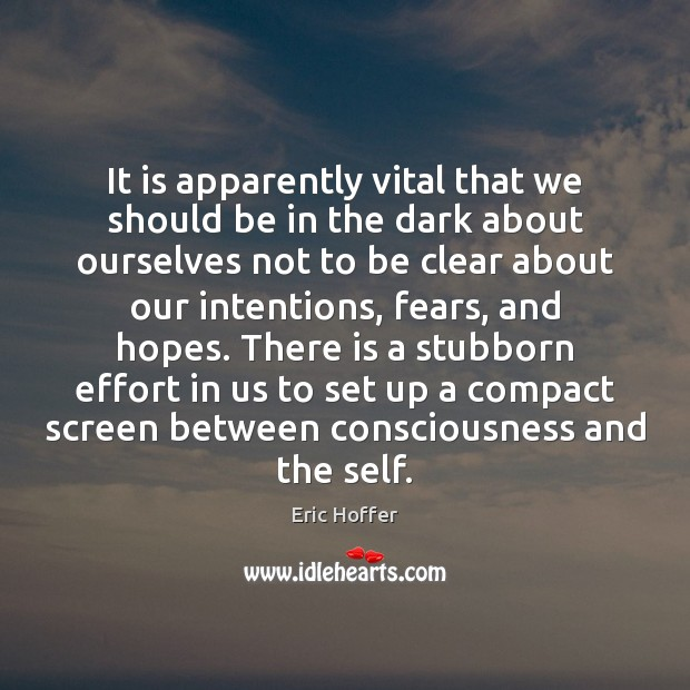 Image, It is apparently vital that we should be in the dark about