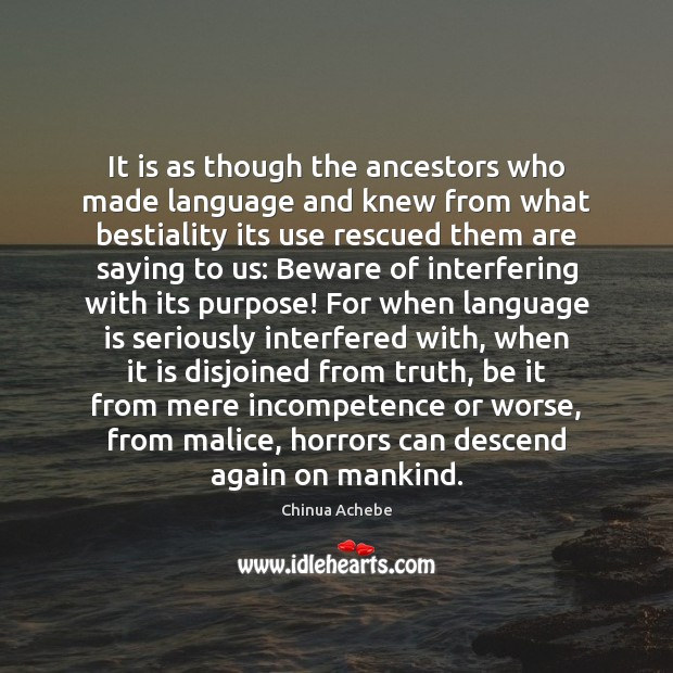 Image, It is as though the ancestors who made language and knew from