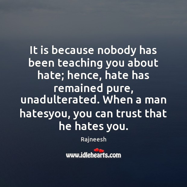 Image, It is because nobody has been teaching you about hate; hence, hate