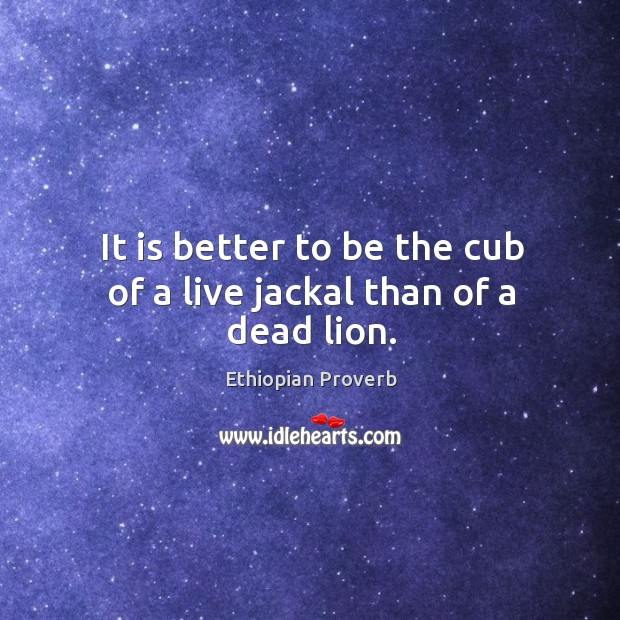 It is better to be the cub of a live jackal than of a dead lion. Ethiopian Proverbs Image