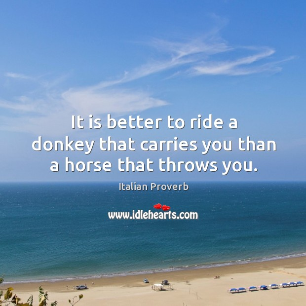 Image, It is better to ride a donkey that carries you than a horse that throws you.