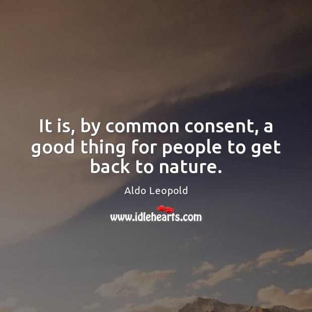 It is, by common consent, a good thing for people to get back to nature. Image