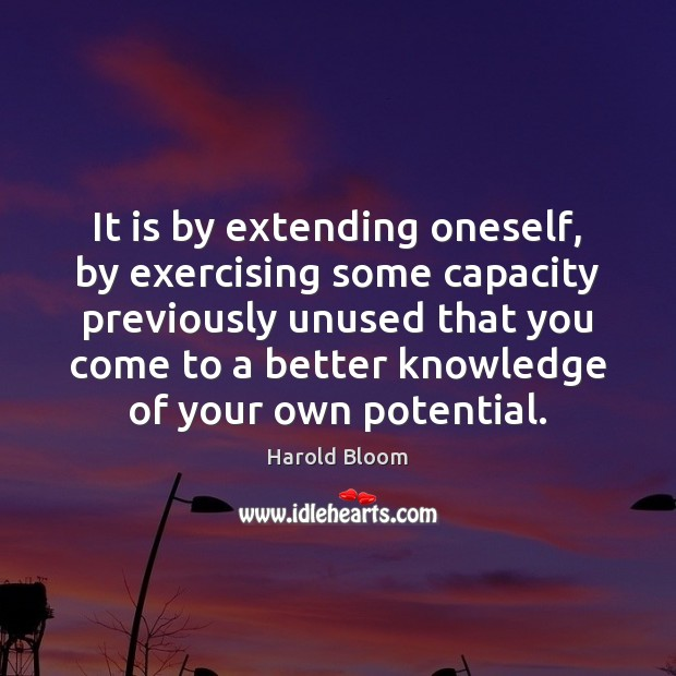 It is by extending oneself, by exercising some capacity previously unused that Harold Bloom Picture Quote