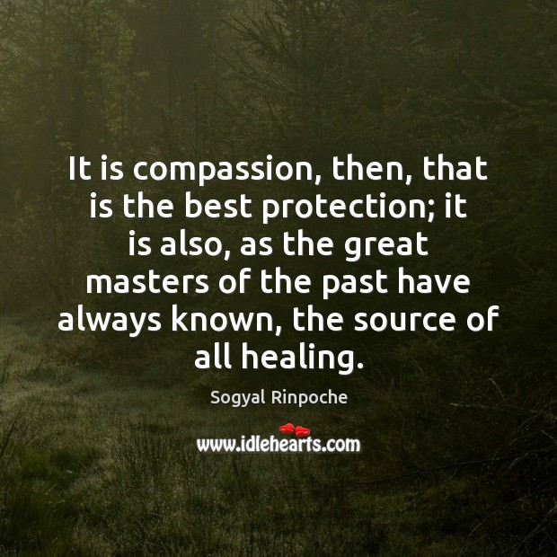 It is compassion, then, that is the best protection; it is also, Sogyal Rinpoche Picture Quote