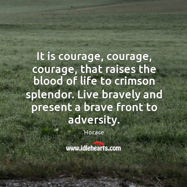 It is courage, courage, courage, that raises the blood of life to crimson splendor. Live bravely and present a brave front to adversity. Image