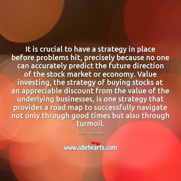 It is crucial to have a strategy in place before problems hit, Seth Klarman Picture Quote