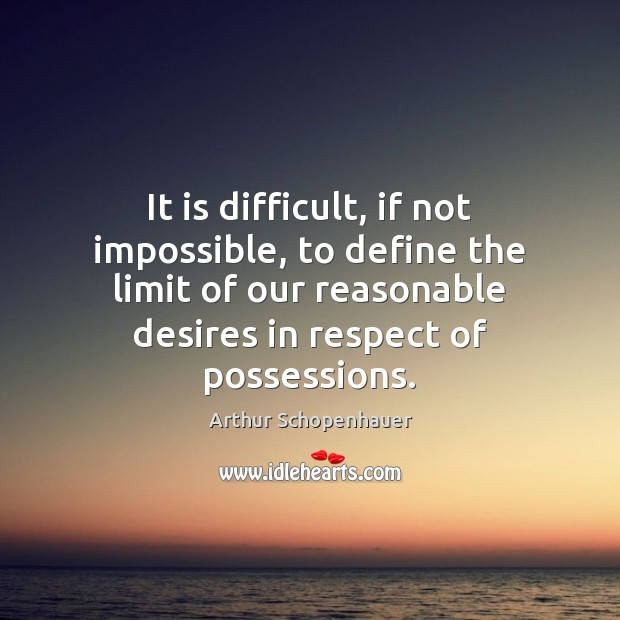It is difficult, if not impossible, to define the limit of our Arthur Schopenhauer Picture Quote