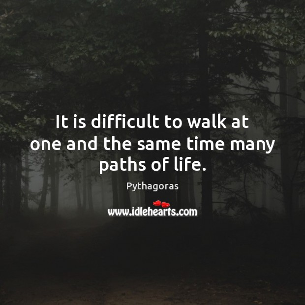 Image, It is difficult to walk at one and the same time many paths of life.