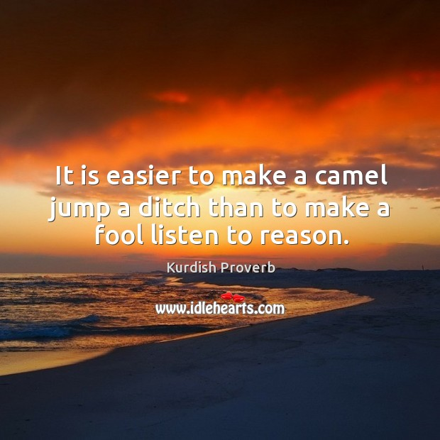 It is easier to make a camel jump a ditch than to make a fool listen to reason. Image