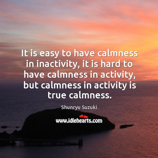 Image, It is easy to have calmness in inactivity, it is hard to