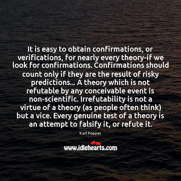 It is easy to obtain confirmations, or verifications, for nearly every theory-if Image