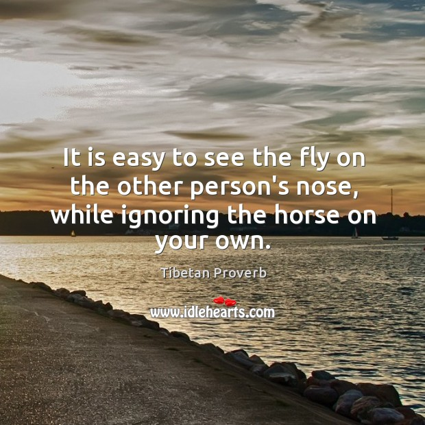 It is easy to see the fly on the other person's nose, while ignoring the horse on your own. Tibetan Proverbs Image