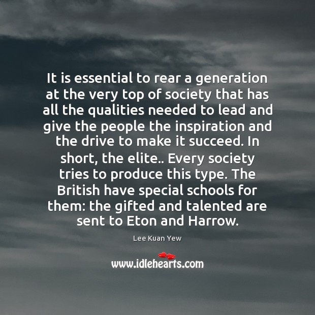 It is essential to rear a generation at the very top of Image