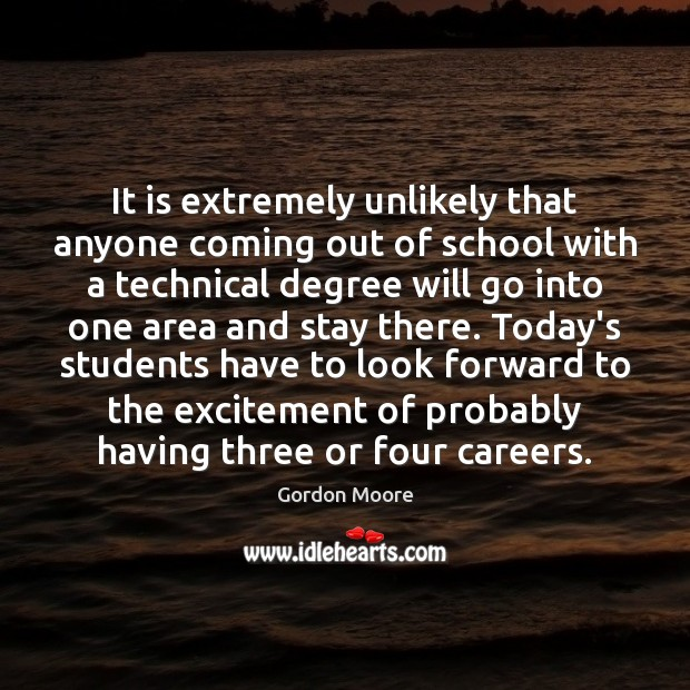 It is extremely unlikely that anyone coming out of school with a Image