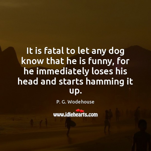 It is fatal to let any dog know that he is funny, P. G. Wodehouse Picture Quote