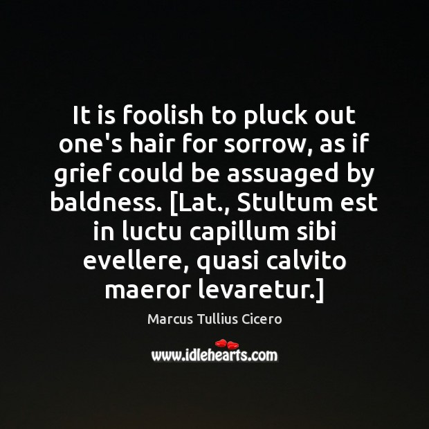 Image, It is foolish to pluck out one's hair for sorrow, as if