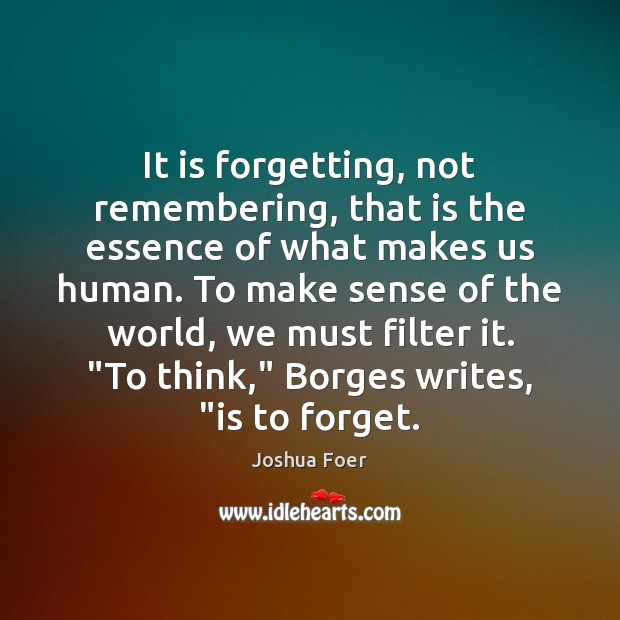 Image, It is forgetting, not remembering, that is the essence of what makes
