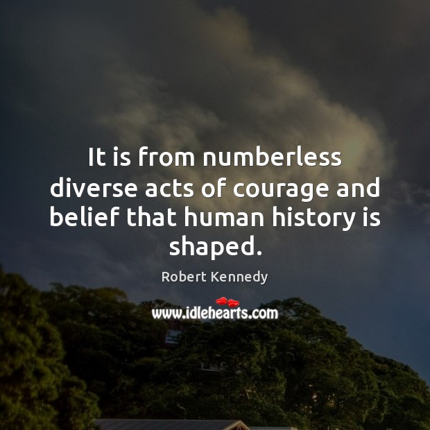 Image, It is from numberless diverse acts of courage and belief that human history is shaped.