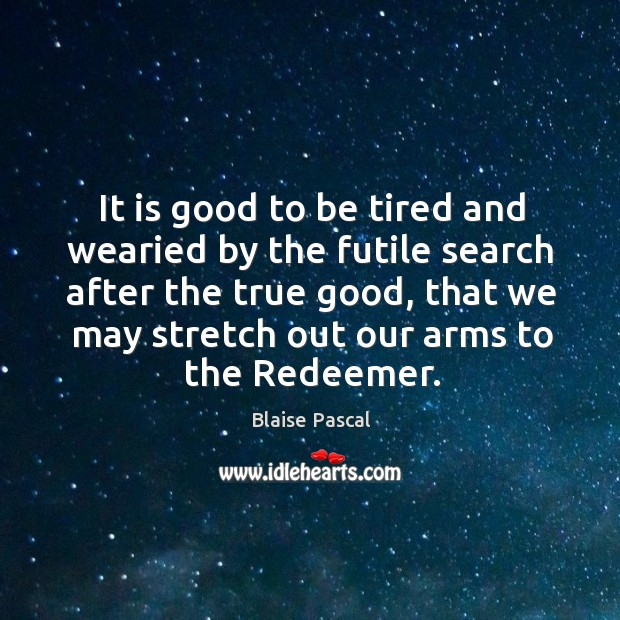 Image, It is good to be tired and wearied by the futile search after the true good, that we may