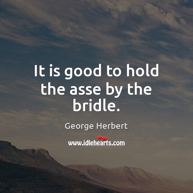 It is good to hold the asse by the bridle. Image