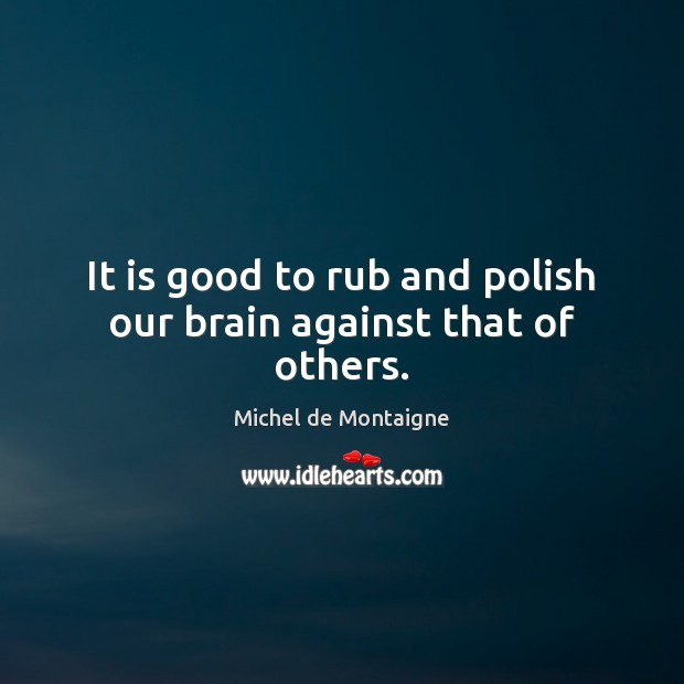 Image, It is good to rub and polish our brain against that of others.