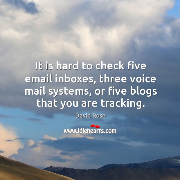 It is hard to check five email inboxes, three voice mail systems, or five blogs that you are tracking. Image