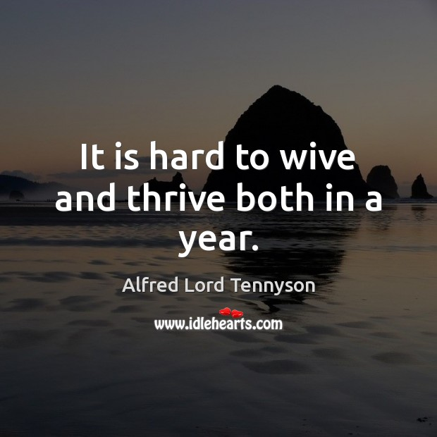 It is hard to wive and thrive both in a year. Alfred Lord Tennyson Picture Quote