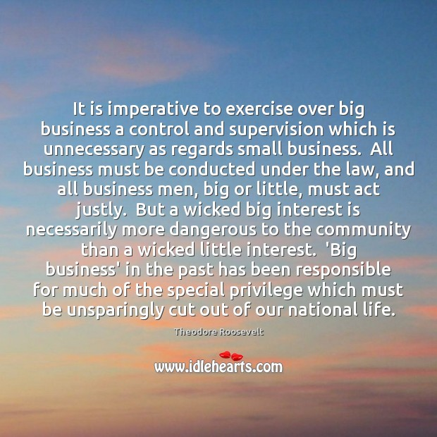 Image, It is imperative to exercise over big business a control and supervision
