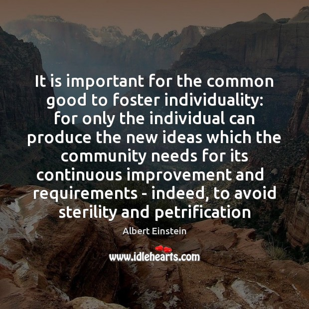 Image, It is important for the common good to foster individuality: for only