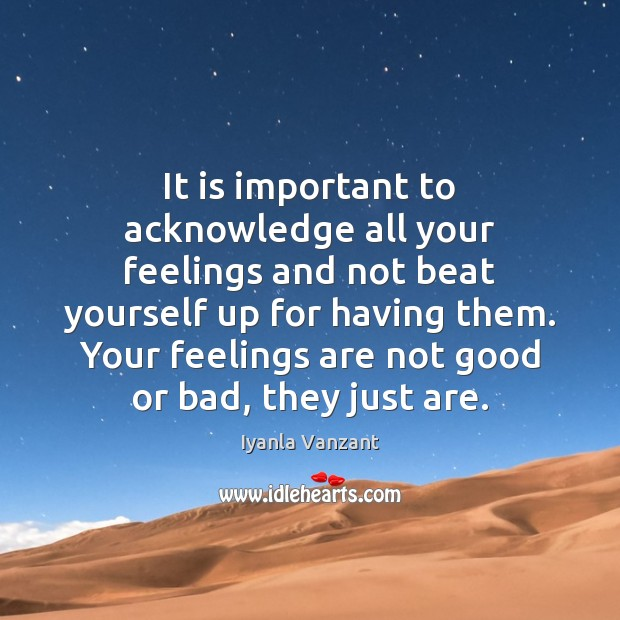 It is important to acknowledge all your feelings and not beat yourself Iyanla Vanzant Picture Quote