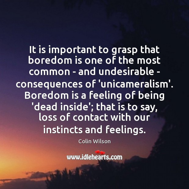 It is important to grasp that boredom is one of the most Colin Wilson Picture Quote