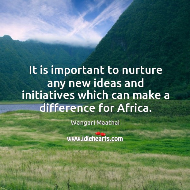 It is important to nurture any new ideas and initiatives which can make a difference for africa. Image