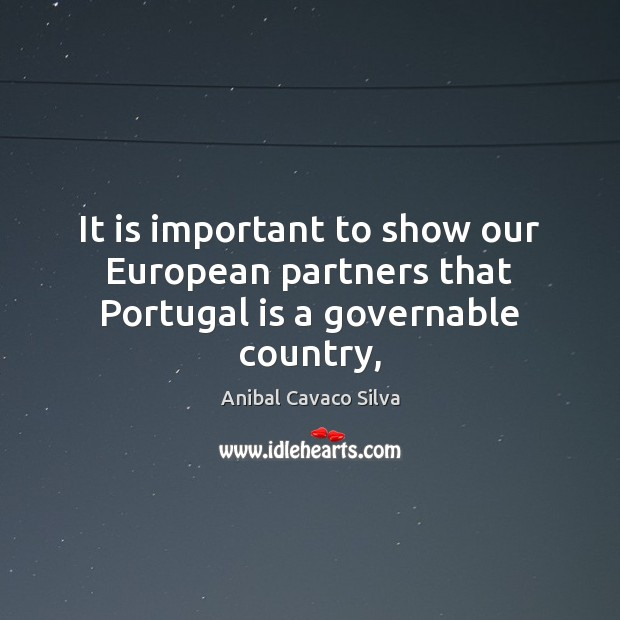 Image, It is important to show our European partners that Portugal is a governable country,