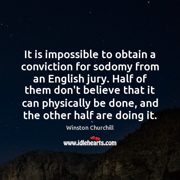Image, It is impossible to obtain a conviction for sodomy from an English