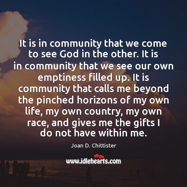 Image, It is in community that we come to see God in the