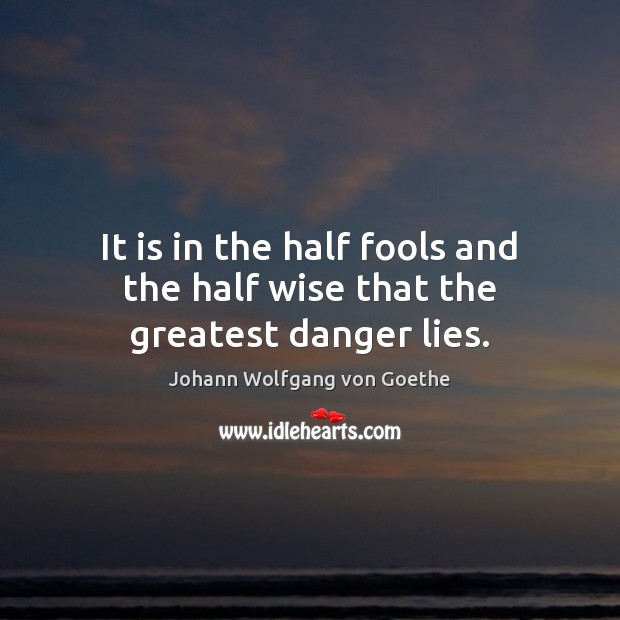 It is in the half fools and the half wise that the greatest danger lies. Image