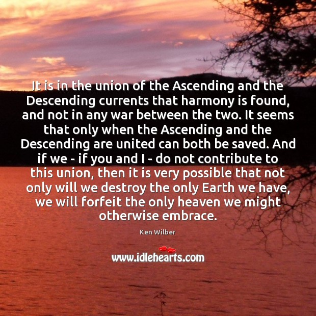 It is in the union of the Ascending and the Descending currents Ken Wilber Picture Quote