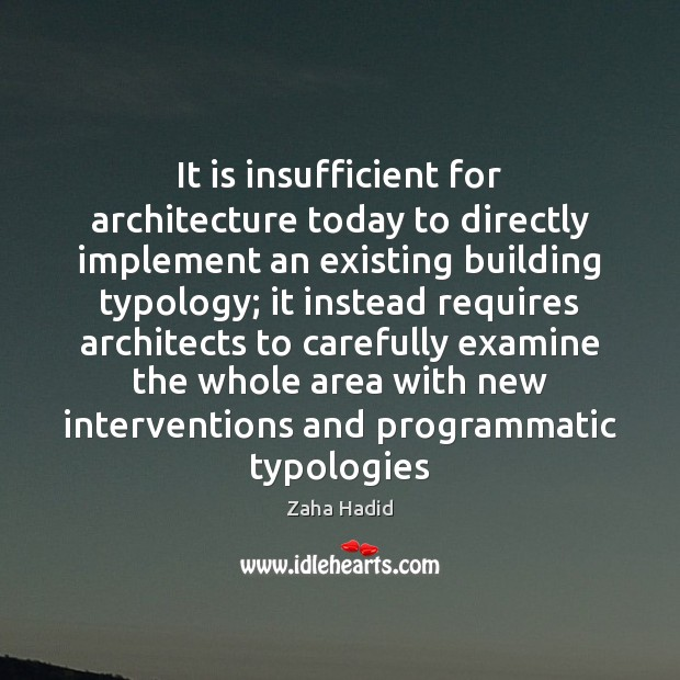 It is insufficient for architecture today to directly implement an existing building Zaha Hadid Picture Quote