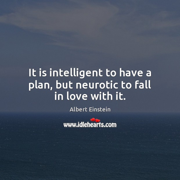 It is intelligent to have a plan, but neurotic to fall in love with it. Image
