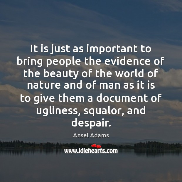 Image, It is just as important to bring people the evidence of the