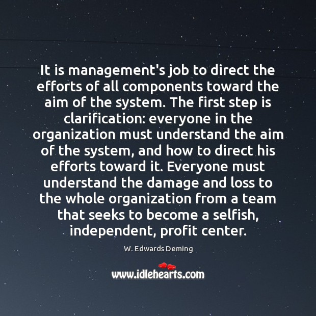 It is management's job to direct the efforts of all components toward W. Edwards Deming Picture Quote