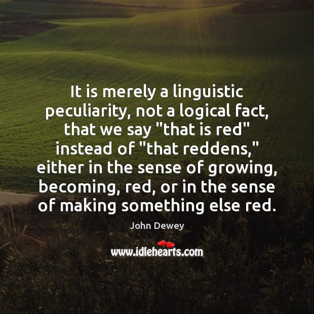 It is merely a linguistic peculiarity, not a logical fact, that we John Dewey Picture Quote