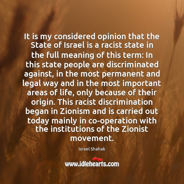 It is my considered opinion that the State of Israel is a Image