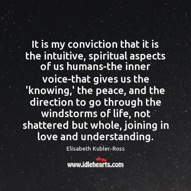 It is my conviction that it is the intuitive, spiritual aspects of Elisabeth Kubler-Ross Picture Quote