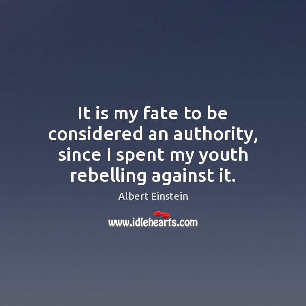It is my fate to be considered an authority, since I spent my youth rebelling against it. Image