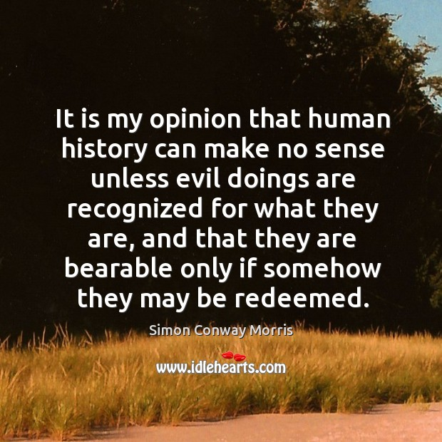 Image, It is my opinion that human history can make no sense unless evil doings are recognized for what they are..