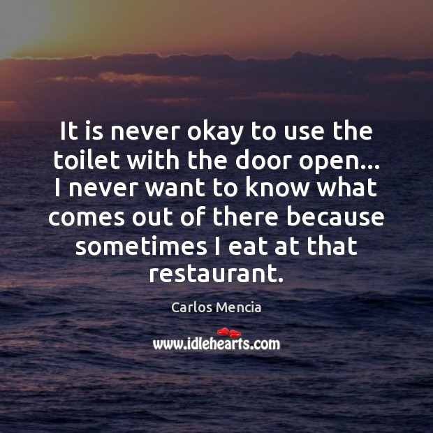 Image, It is never okay to use the toilet with the door open…